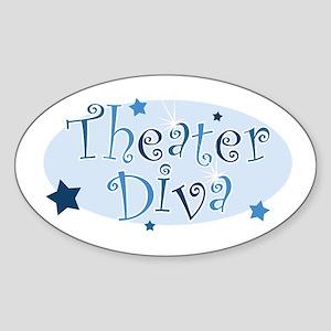 """Theater Diva"" [blue] Oval Sticker"